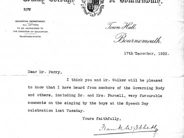 Letter from the County Borough of Bournemouth